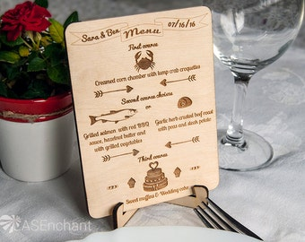 Set of Rustic Wood Wedding Menu Cards with Stands (Set of 4), Custom Engraved Rustic Wood Menu Cards, Wood Menu Cards with Stands