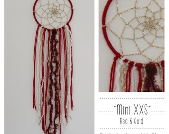 """Mini dream catcher """"Red & Gold"""""""