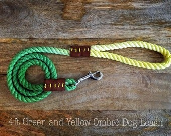 4ft Green and Yellow Ombré Rope Leash