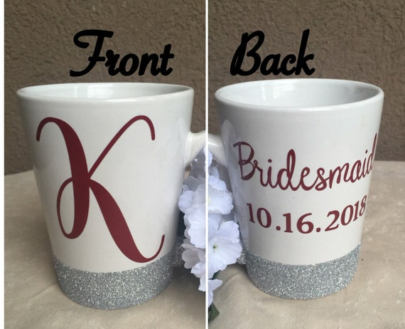 Wedding Gift Mugs Suggestions : ... Mug,Upper Case Initial Mug,Custom Coffee Mug,Bridesmaid Gift,Bridal
