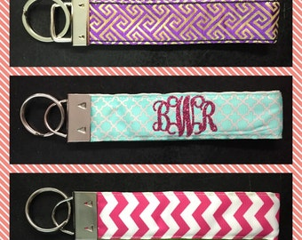 Monogrammed Keychain, Key Fob, Personalized Keychain, Glitter Vinyl Monogram, Monogrammed Wristlet Key chain