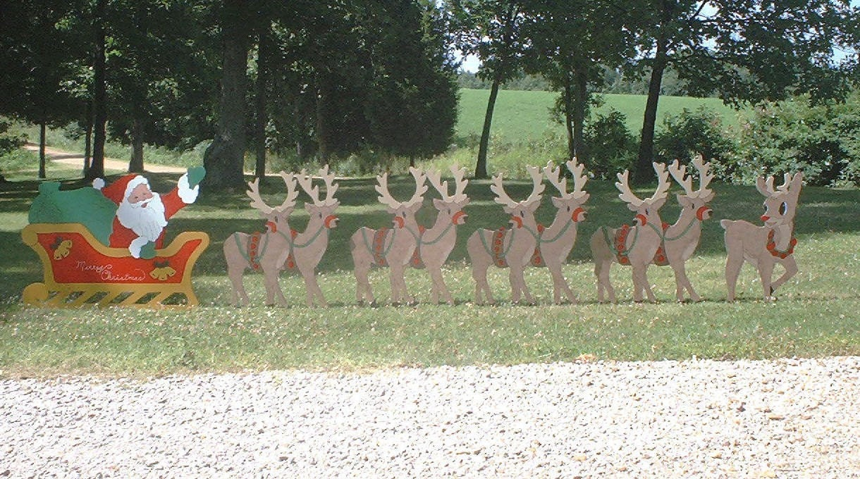 Santa in Sleigh with 8 Reindeer and Rudolph Christmas 6 piece