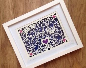 Friendship - Original handcut framed bespoke Papercut