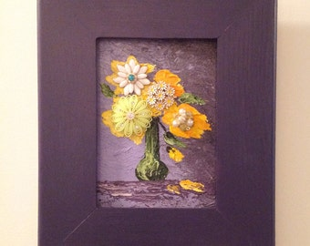Floral still life painting, framed vintage flower art, purple floral painting, oil painting yellow flowers, vintage jewelry collage
