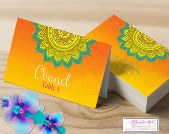 Wedding Place Cards | Printable Placecards Template | Indian Bollywood Mandala Theme Seating Cards #MF23