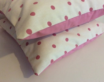 Pair of Cream and pink spotted 16'''cushion covers