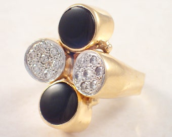 14K Yellow Gold Onyx and Diamond Ring