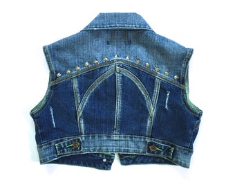 Women's Studded Cropped Denim Vest - women's denim vest - vintage - distressed denim - Size S