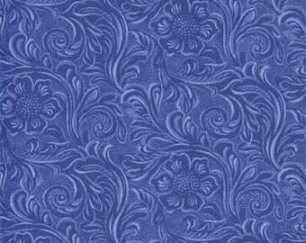 Western Basics Blue Tooled Leather by Sara Khammash for Moda 100% Cotton 11216 23