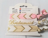 Arrow Pink & Gold Bridesmaid Hair Tie Set, Bridesmaid Gifts, Pink and Gold Hair Elastics, Gifts for Bridesmaids, Bridesmaid Thank Yous
