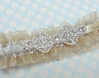 Elegant Champagne prom garter,  Silver and Champagne prom garter,  prom garters