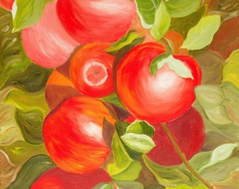 "Oil painting - Red apple-18""by24"""