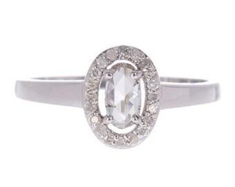 14k White Gold Oval Diamond Ring