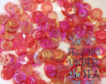 7MM Cup Iridescent Straberry Sequins Clear