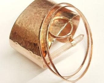Hand-crafted, Hammered Bronze Bracelet Cuff, 1 1/2 inch wide