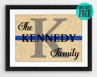Thin Blue Line, Family Name Sign, Personalized Monogram Burlap Prints, Rustic Home Decor, Wall Art, Police Officer Gift, Wedding Gifts, CM90