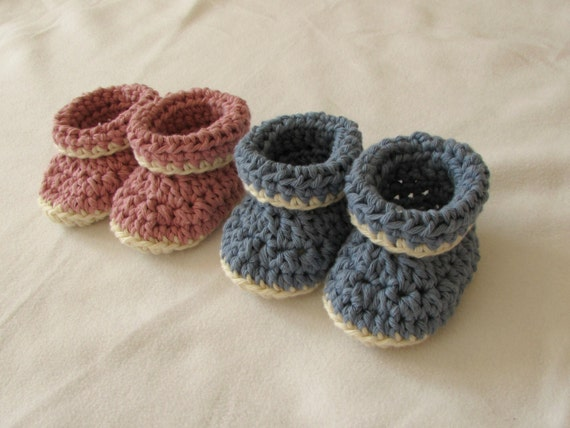 Crochet Baby Booties Written Pattern : Crochet Cuffed / Roll Top Baby Baby Booties Written Pattern