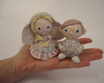 Ceramic bride and groom- Wedding cake topper- Ceramic love couple- MADE TO ORDER