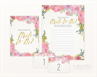BRIDAL SHOWER GAME How Old was the Bride-to-Be / Watercolor Floral design in pink and gold