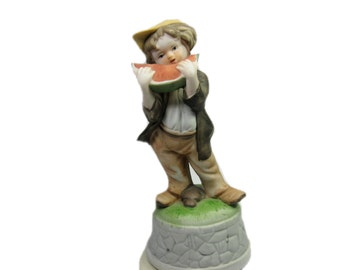 Vintage Revolving Musical Figurine of Boy with Watermelon, 70s Music Box Figurine, Plays Swanee River, Porcelain Figurine