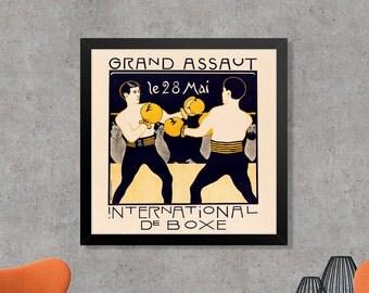 Grand Assaut International de Boxe Vintage Boxing Poster Art Print