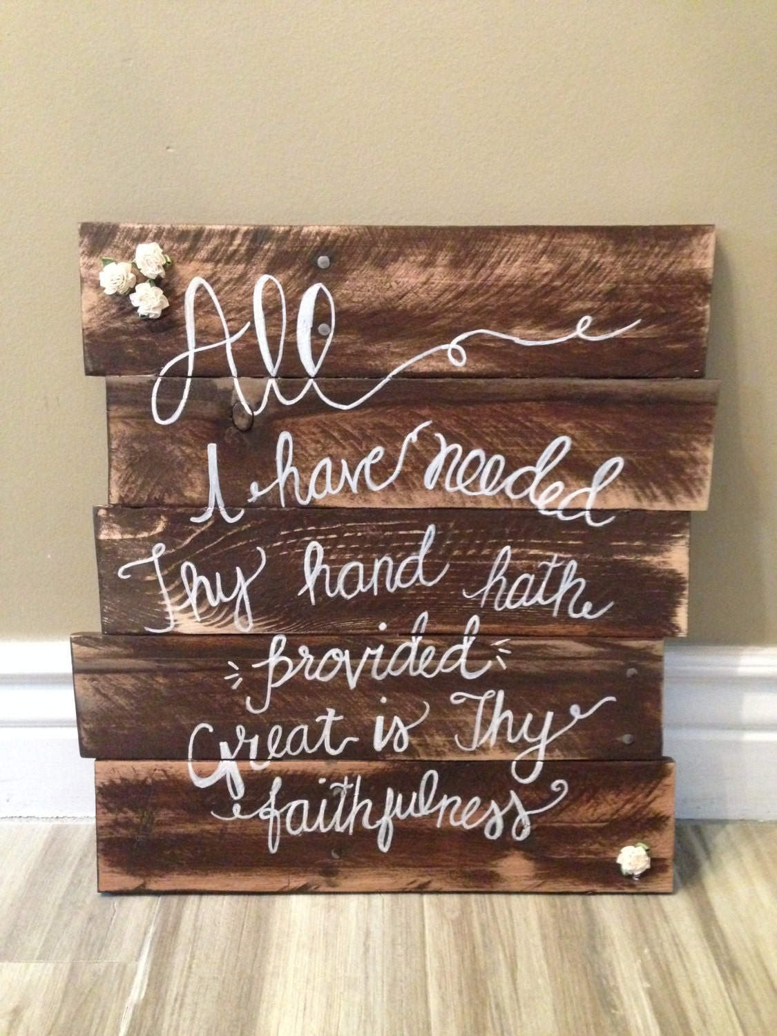 Large Wood Sign Rustic Great Is Thy Faithfulness Scripture