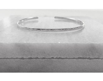 Sterling Silver Open Hammered Bangle