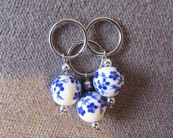 Blue Blossom 8mm (US 11) and 12mm (US 17) Stitch Markers (Sets of 3)