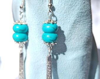 Turquoise earrings, ethnic