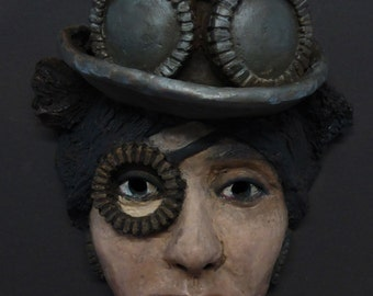 Original ceramic mask - Alice - inspired by the steampunk style and created by portrait artist Anita Dewitt