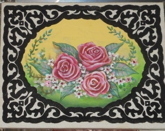 Pink Roses Painting on Bordered Canvas