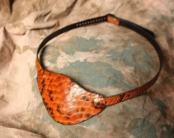 Pirate Eyepatch -- Leather Eye patch -- Steampunk Eyepatch  --  Python Snakeskin -- Pirate Costume -- Made in the USA