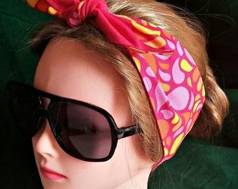 Headband hair wraptie paisley print 100% Cotton