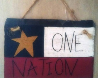 Patriotic - Americana painted slate - One Nation Under God