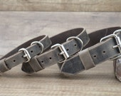 Dog collar,FREE ID TAG,  crazy horse leather, sturdy collar, Buffalo leather collar, personalized collar.