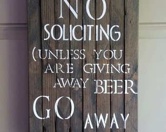 NO SOLICITING Reclaimed Barn Wood Sign