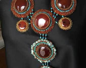 Blue and Carnelian Beader Statement Necklace