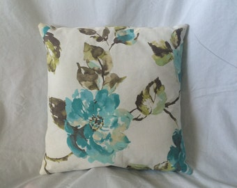 16x16  Blue and Grenn Floral Pillow Case