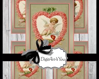 Greeting Card/Cards/Four Leaf Clover/Valentine/Valentine's Card/Valentine's Day/Flowers/ Antique/Retro/Unusual/DIY Card/Vintage Collage