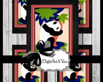 Greeting Card/Cards/Panda/Zoo/Cute/Adorable/Animals/Kids/Kid's/Children/Invite/Unusual/DIY Card/Vintage Collage/Digital Download/Vintage Art
