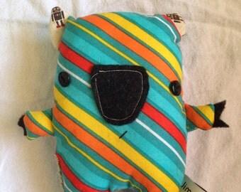 Multi color bright handmade fabric wombat softie