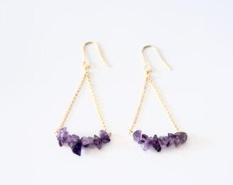 Authentic amethyst earrings (purple)