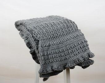 Grey Crochet Blanket - Grey Throw - Home Decor - Winter Throw