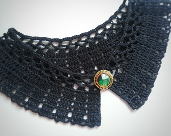 Black crochet collar, crochet necklace, Black Peter Pan collar, Detachable collar, Lace collar, elegant lady outfit, openwork,  for ladies