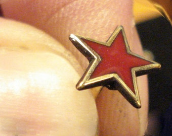 Red Star Badge Pin LapelPin brass enamel Brutal treatment NEW