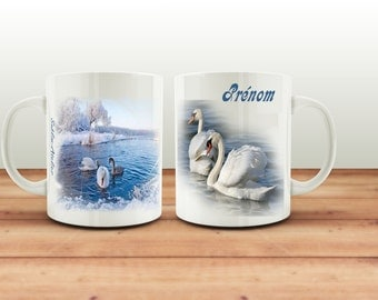 Mug Cup coffee or tea mug coffee cup with a name, Swan