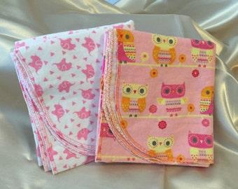 Pink and Orange Owl/Pink Elephant Receiving Blanket Set