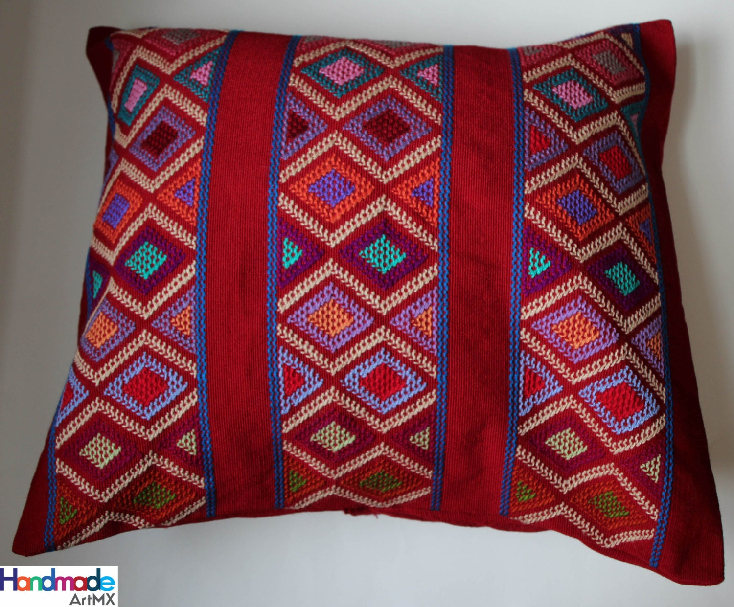 Hand Embroidered Red Cushion / Pillow Cover / Mexican Textile