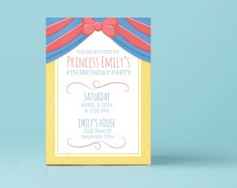 Snow White Digital Download Invites Template 5x7