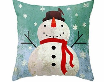 Christmas Snowman Pillow Case